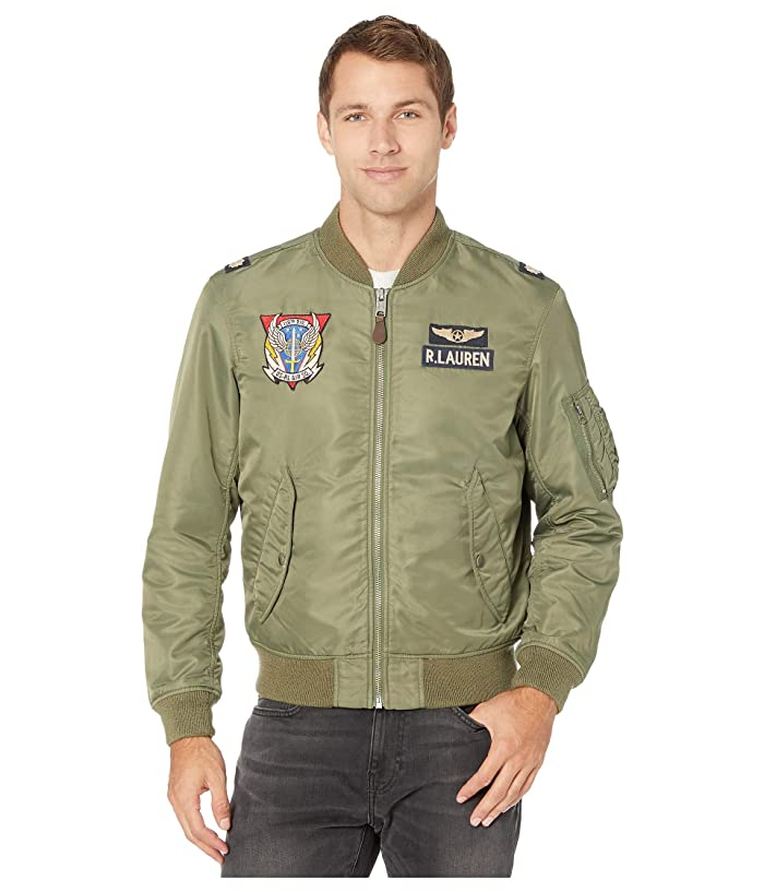 Men's Vintage Style Coats and Jackets Polo Ralph Lauren Bomber Flight Jacket Bohemian OliveCoastal Orange Mens Coat $358.20 AT vintagedancer.com
