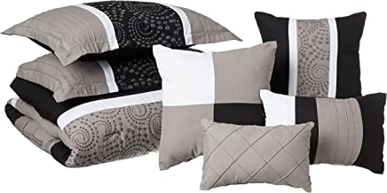 Chic Home Euphoria 8-Piece Embroidered Comforter Set Embroidery Pintuck Bedding with Bed Skirt and Decorative Pillows Sham...