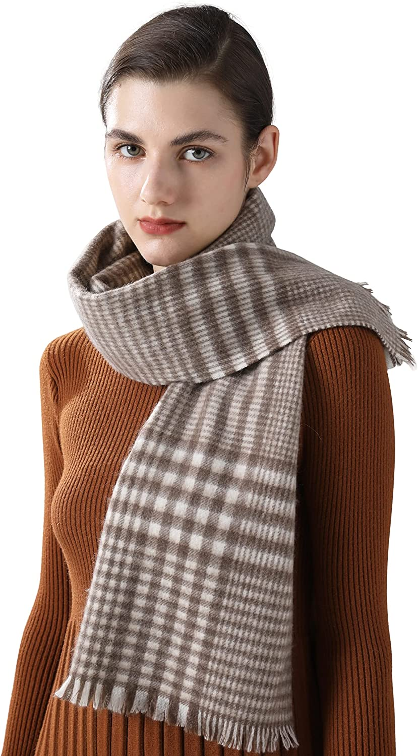 Jushkune 100% Cashmere Plaid Women's Scarf Large Soft Shawls and Wraps Evening Dress Office or Party