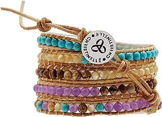Leather Wrap Bracelet, Beaded Bracelets for Women, Five Rows Purple, Blue, Tan, Brown, Cream Beads, 36