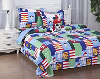 GorgeousHomeLinen 6-PC Twin Complete Bed in A Bag Comforter Bedding Set with Furry Friend and Matching Sheet Set for Kids (Twin, Pirates Patchwork)