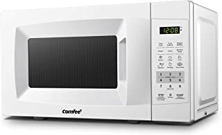 COMFEE' EM720CPL-PM Countertop Microwave Oven with Sound On/Off, ECO Mode and Easy One-Touch Buttons, 0.7Cu.Ft/700W, Pearl White