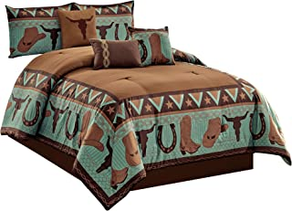WPM WORLD PRODUCTS MART 7 Piece Cabin Lodge Comforter Set Brown/Teal Horseshoe, Horse, Barb Wired Cow Boy Hat Boot Print S...