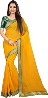 Anand Sarees Chiffon Solid Plain Saree With Lace Border And Unstitched Green Color Jacquard Blouse Piece (1468)
