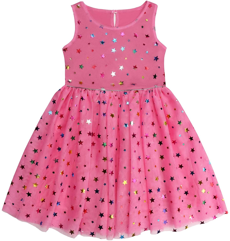 DaniChins Girls Sleeveless Tutu Dress Layered Tulle Sparkle Dress for Girls