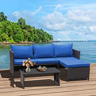 Valita 3-Piece Outdoor PE Rattan Furniture Set Patio...