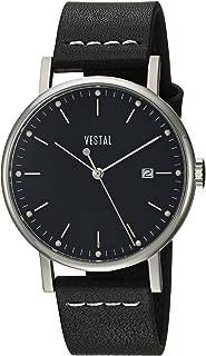 Vestal 'Sophisticate 36' Swiss Quartz Stainless Steel and Leather Dress Watch, Color:Black (Model: SP36L01.BKWH)