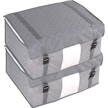 アストロ 収納ケース 羽毛布団用 2枚組 グレー 不織布 活性炭 消臭 透明窓 ベルト付き 179-11