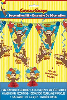 7 Piece Curious George Decorating Kit, (Banner, Centerpiece, and Swirls) Birthday Party Supplies