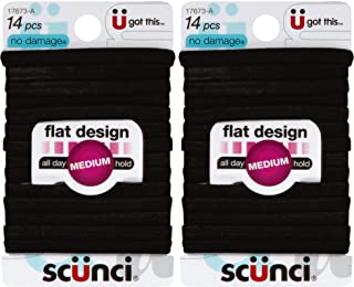 Scunci No-Damage Comfortable Black Hair Ties | Flat Design All Day Hold 14-Pieces per Pack (2-Packs)