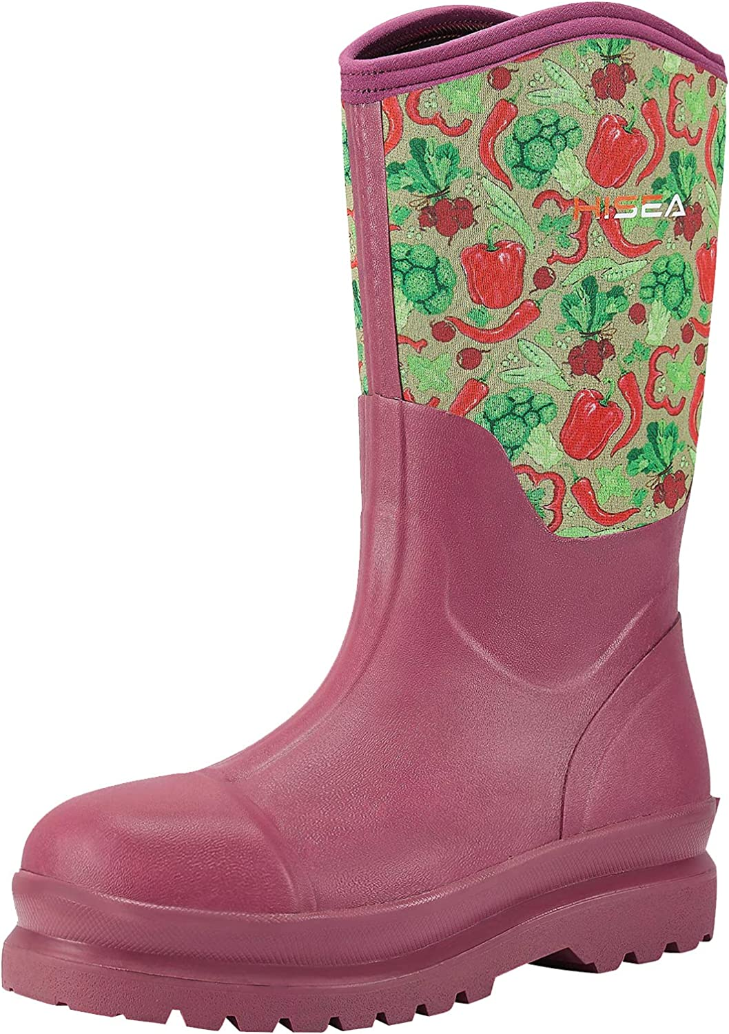 HISEA Women's Rubber Work Boots Mid Calf Rain Boots Insulated for Outdoor Muck Mud Riding Fishing Working