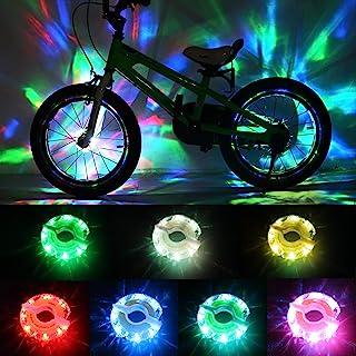چراغهای چرخدار دوچرخه قابل شارژ DAWAY - چراغهای اسپک دوچرخه مخصوص بچه ها با هدایت A16 ، 2 بسته تایر ، لوازم جانبی توپی برای بزرگسالان پسرانه ، ضد آب ، فوق العاده روشن ، هدایای دوچرخه سواری سرگرم کننده ، 6 ماه ضمانت