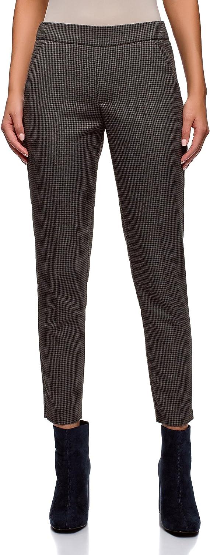 oodji Ultra Women's Elastic Waistband Slim-Fit Trousers, Grey, 2