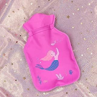 ACHICOO 湯たんぽ ミニ かわいい 漫画 水ボトル ポケット ポータブル 子供 大人 ギフト 11#ローズレッド-ピンクの髪の人魚 11 * 18