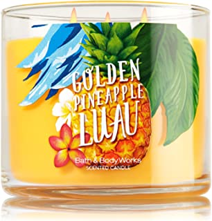 Bath and Body Works GOLDEN PINEAPPLE LUAU 14.5 Oz 3 Wick Large Jar Scented Candle