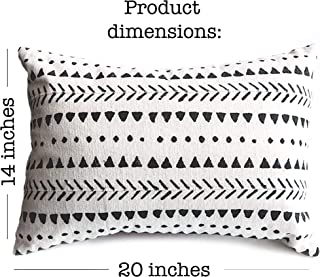Stylish Mudcloth Throw Pillow Cover. Modern Boho Decor for Your Farmhouse Couch Lounge Chair Sofa or Bed. Outdoor Rectangular lumbar Decorative Cushion Aztec Design. 14