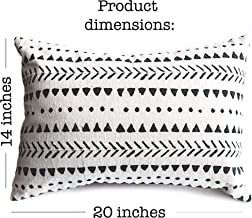 Stylish Mudcloth Throw Pillow Cover. Modern Boho Decor for Your Farmhouse Couch Lounge Chair Sofa or Bed. Outdoor Rectangular lumbar Decorative Cushion Aztec Design. 14 X 20 Insert Not Included