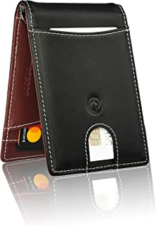 monsoon [SAFARI] Genuine Leather Mens Wallet Slim with Money Clip Minimalist Wallets RFID Blocking - Black