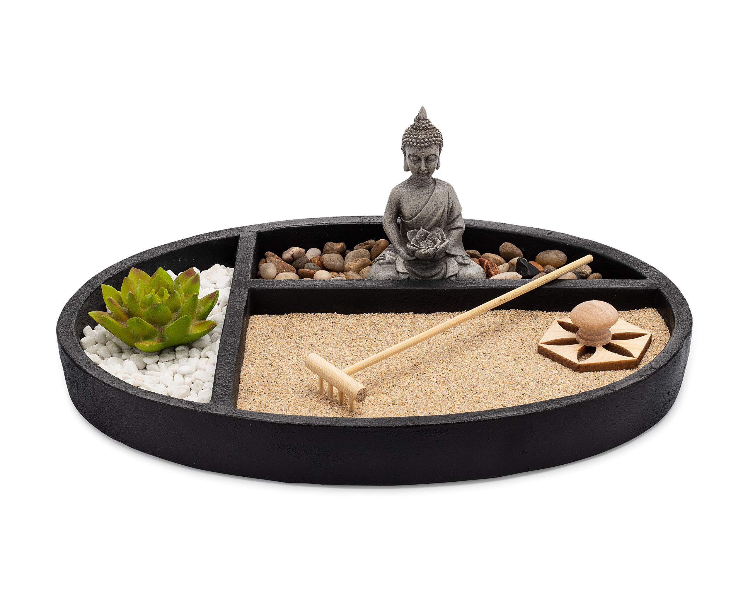AsanaLiving Desktop Zen - Jardín de Arena con Base de hormigón, Estatua de Buda meditando, rastrillo de bambú, Sello y Planta de Loto sintético: Amazon.es: Hogar