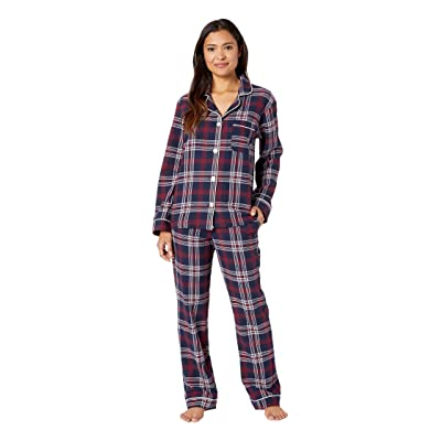 BedHead Pajamas Long Sleeve Classic Notch Collar Pajama Set (Plaid Dash) Women