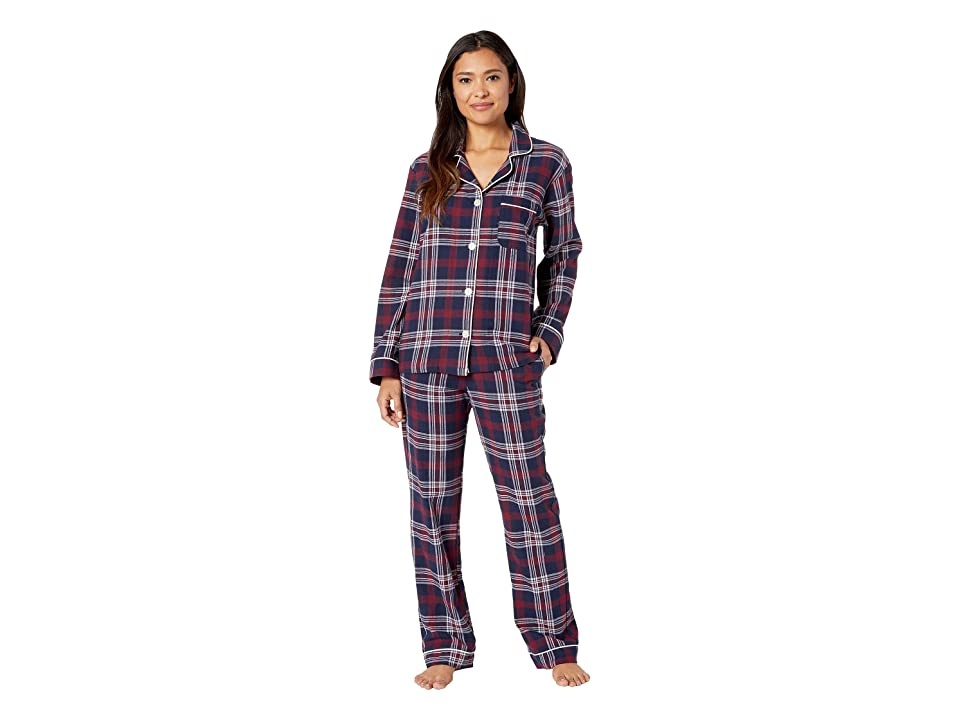 BedHead Long Sleeve Classic Notch Collar Pajama Set (Plaid Dash) Women