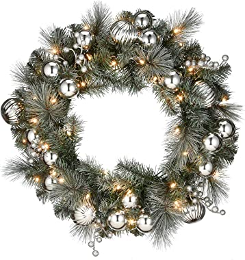 """National Tree Company 24"""" Frosted Silver Pine Wreath with Battery Operated LED Lights, Green"""