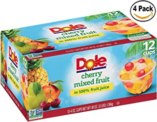 DOLE FRUIT BOWLS, Cherry Mixed Fruit in 100% Fruit Juice, 4 Ounce, 12 Cups (Set of 4)