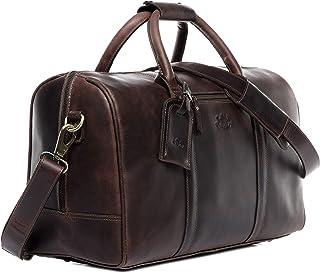 SID & VAIN Reisetasche echt Leder Chad | Vintage-Look | XL groß Sporttasche Weekender Ledertasche Herren braun