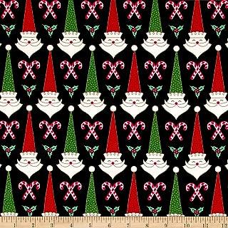 Patrick Lose Fabrics Studio Santa's Stash Mid Mod Santa Fabric, Black, Fabric By The Yard