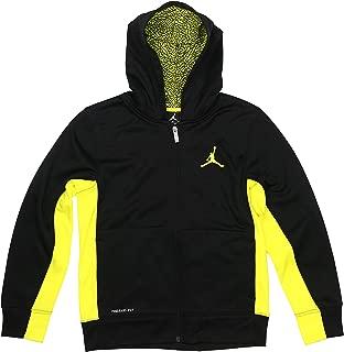 Boys Jordan Jumpman Zip-UP Elephant Print Hoodie -Black, Volt Yellow (Medium)