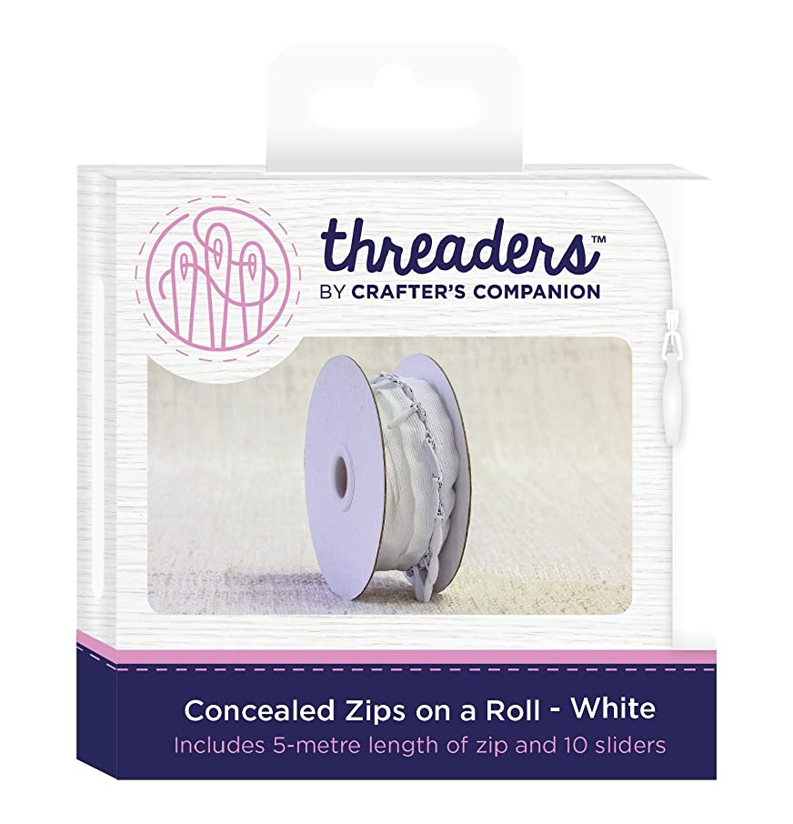 Threaders Concealed Zips on a Roll, White, One Size