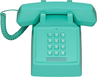 Wild Wood 2500 Classic Retro 1980s Style Corded Landline Phone with Push Buttons, Miami Turquoise