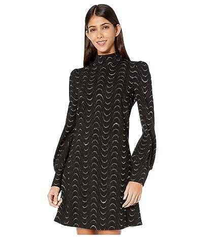 Kate Spade New York Wavy Dot Ponte Dress (Black) Women