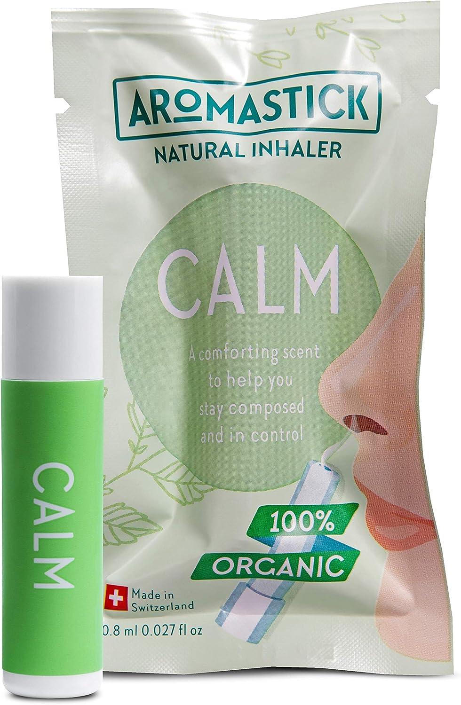 Aromastick Calm - Ayuda a mantener la calma y el control - Inhalador terapéutico natural - Aromaterapia - 100% aceites esenciales puros orgánicos, bio, Bergamota, Limón, Cedro, Salvia, Vetiver