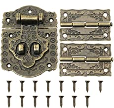 Magic&shell Decorative Antique Style Embossing Decorative Hasp Latch Lock with Mini Hinge and Screws for Furniture Cabinet Wood Case Box