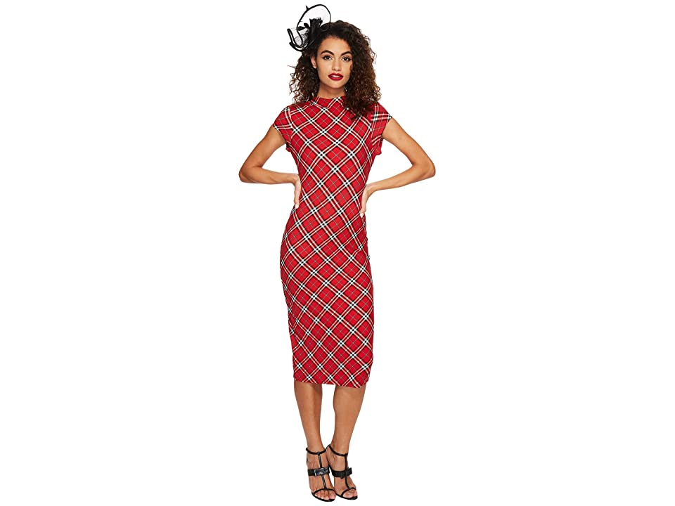 Unique Vintage Cap Sleeve Holly Wiggle Dress (Red Plaid) Women