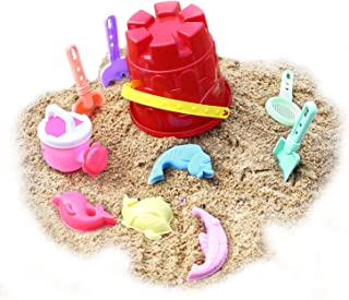 Zooawa Beach Sand Toy Set for Kids, Beach Bucket Sand Models Play Kits Summer Playing Molds Pail Sets Include Red Bucket, Rake, Shovels, Watering Can, Sand Models, Colorful