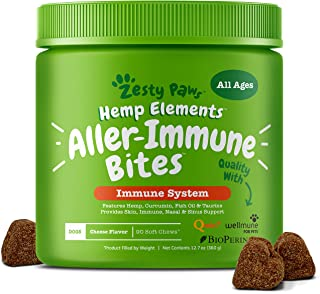 Zesty Paws Allergy Immune Supplement with Hemp for Dogs -...