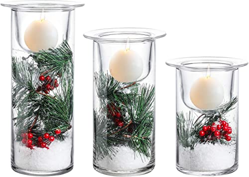 Whole Housewares Glass Hurricane Candle Holders with Decorative Christmas Ornaments - Set of 3(Candles Not Included)