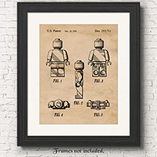 Original Lego Patent Poster Prints, Set of 1 (11x14) Unframed Photo, Wall Art Decor Gifts Under 15 for Home, Office, Garage, Man Cave, College Student, Teacher, Children, Comic-Con & Movies Fan