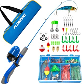 PLUSINNO Kids Fishing Pole,Portable Telescopic Fishing Rod and Reel Full Kits, Spincast Youth Fishing Pole Fishing Gear fo...
