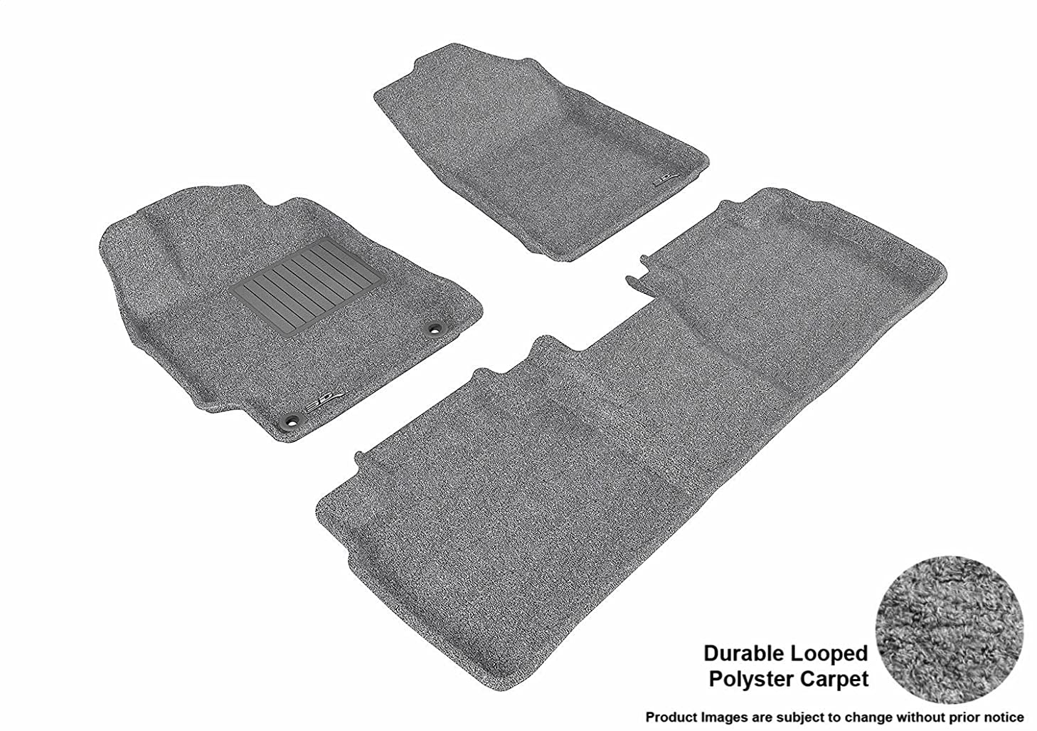 3D MAXpider Complete Set Custom Fit All-Weather Floor Mat for Select Toyota Camry/ Camry Hybrid Models - Classic Carpet (Gray)