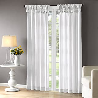 Madison Park Emilia Room-Darkening Curtain DIY Twist Tab Window Panel Black-Out Drapes for Bedroom and Dorm, 50x95, White