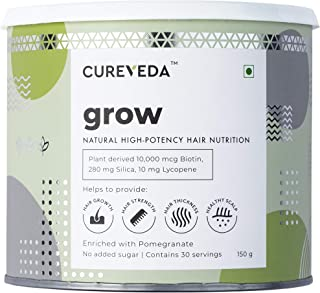 Cureveda GROW Plant Based Biotin 10000mcg powder (30 servings) Hair Nutrition, Hair fall,Premature greying, Hair Growth, H...