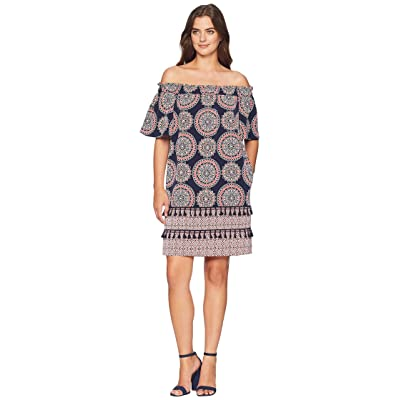 Maggy London Spinning Wheel Printed Off The Shoulder Shift (Dark Navy/Pink Punch) Women