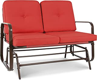 Best Choice Products 2-Person Outdoor Mesh Patio Double Glider w/Tempered Glass Attached Table, Red Orange