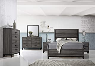 Kings Brand Furniture – Ambroise 6-Piece King Size Bedroom Set, Grey/Black. Bed, Dresser, Mirror, Chest & 2 Night Stands