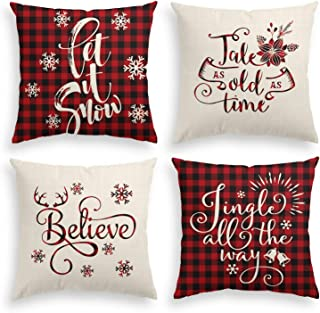 AVOIN Christmas Saying Throw Pillow Cover, 18 x 18 Inch Winter Holiday Buffalo Plaid Farmhouse Linen Cushion Case for Sofa Couch Set of 4