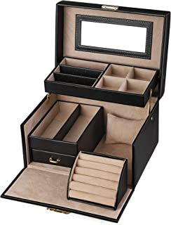 SONGMICS Jewelry Box, Girls Jewelry Organizer, Lockable Mirrored Storage Case, Gift Idea, Black UJBC114 (Renewed)