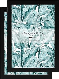 Cooper & Co. Premium Paradise Wooden Photo Frame Set of 2 Pieces, 21 cm Width x 29.7 cm Height, Black